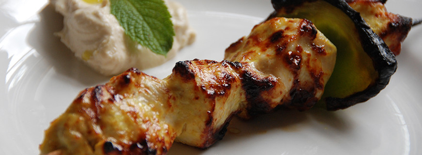 Lebanese Shish Taouk - Chicken Barbecue with Hummus
