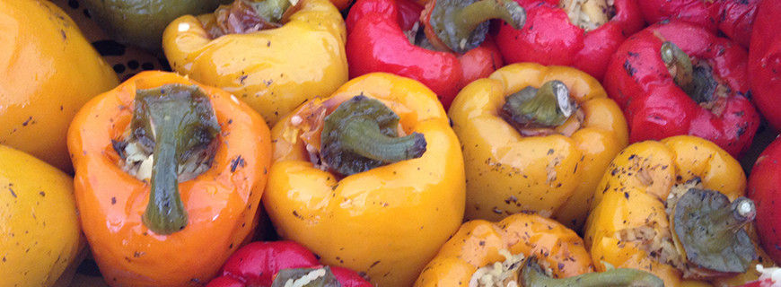 Moroccan Stuffed Peppers with Saffron and Nuts